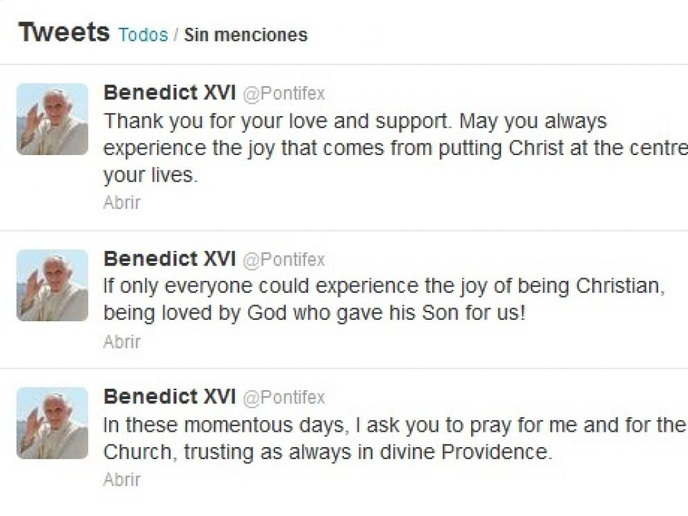 Último mensaje de Benedicto XVI en su cuenta de Twitter