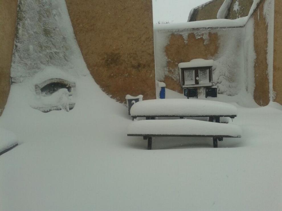 Nieve en Paniza, en la provincia de Zaragoza.