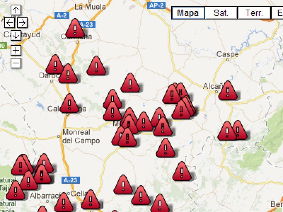 Mapa de las carreteras afectadas