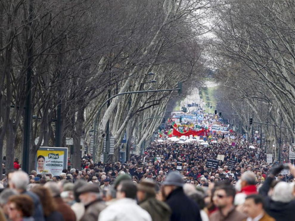 Manifestantes en Lisboa