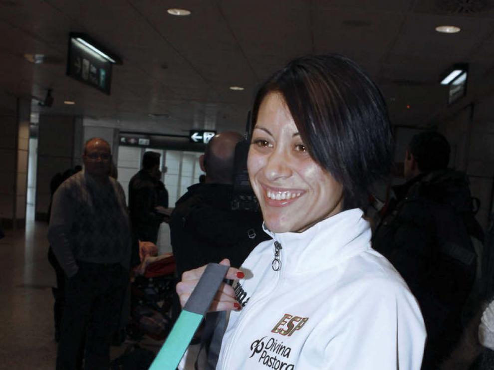 Isabel Macías, en Barajas