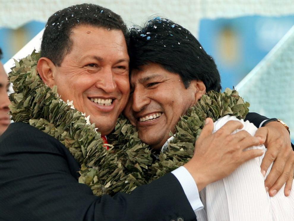Chávez junto a Evo Morales (Archivo)