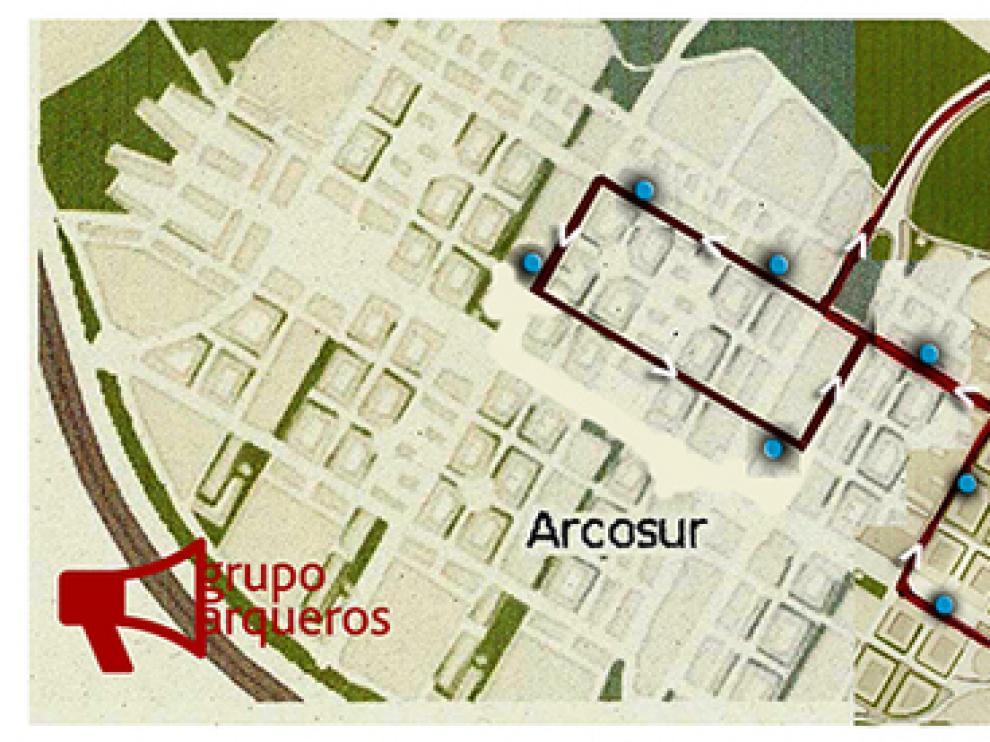 Plano de paradas propuestas por los vecinos de Arcosur