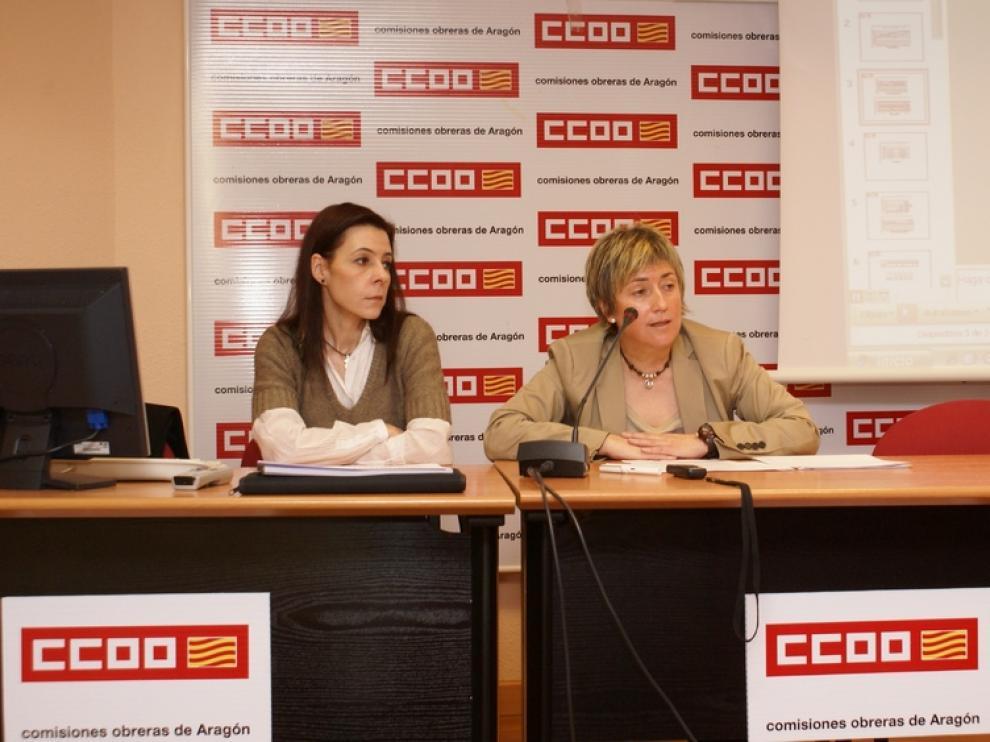 Delia Lizana y Gloria Bergasa, de CC. OO., ha presentado un informe sobre la mujer aragonesa en 2012