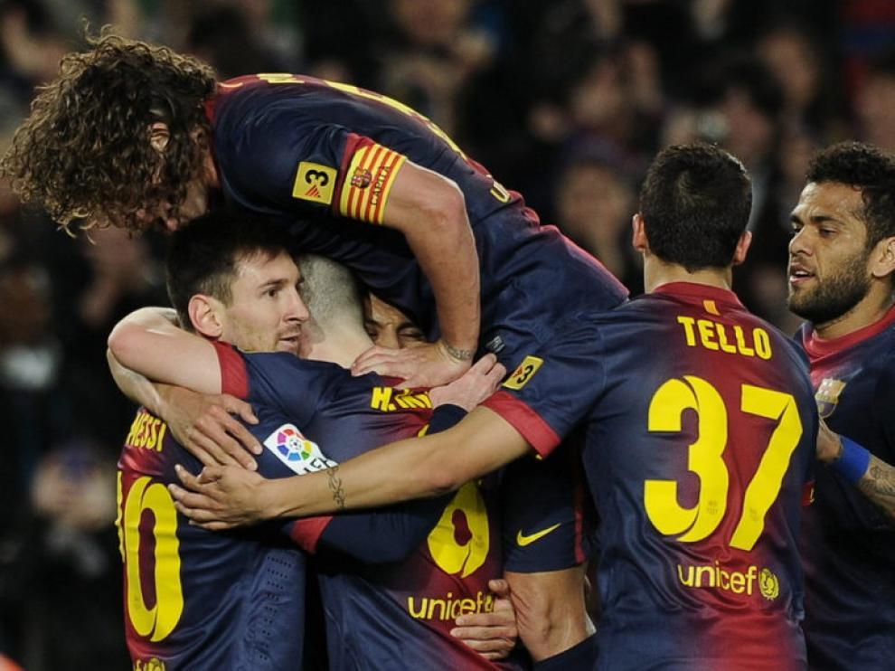 Los jugadores del Barça celebrando uno de los goles