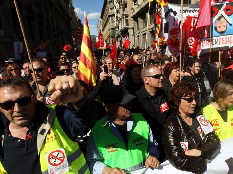 Manifestacióon contra le paro, los recortes y la corrupción, en Barcelona