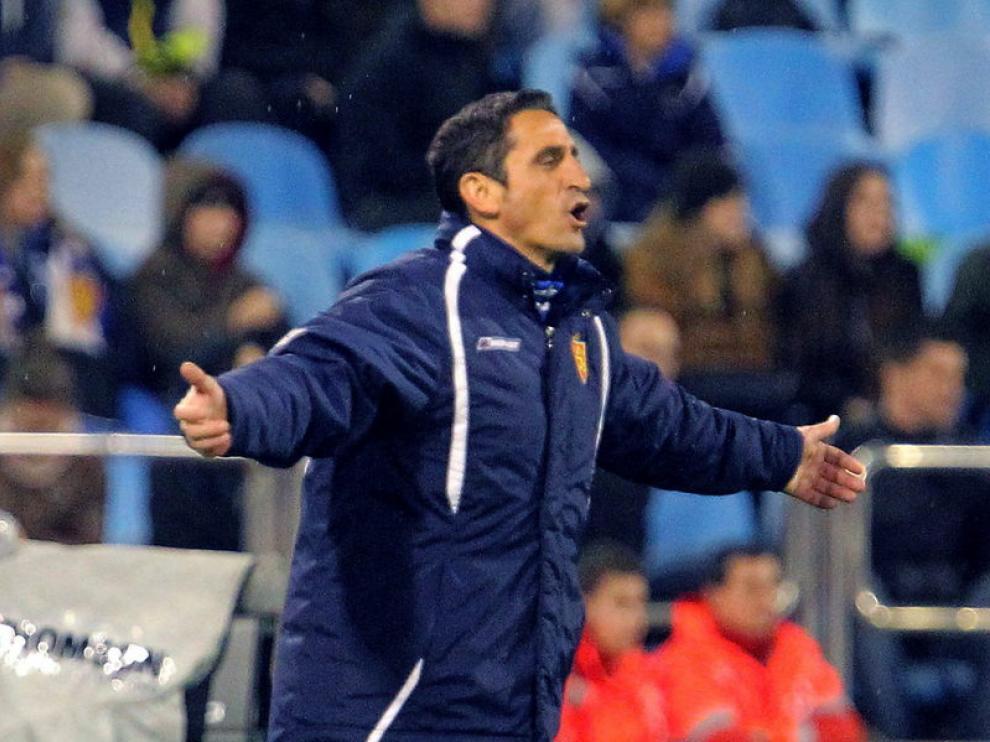 Manolo Jiménez, durante el partido Real Zaragoza-Granada