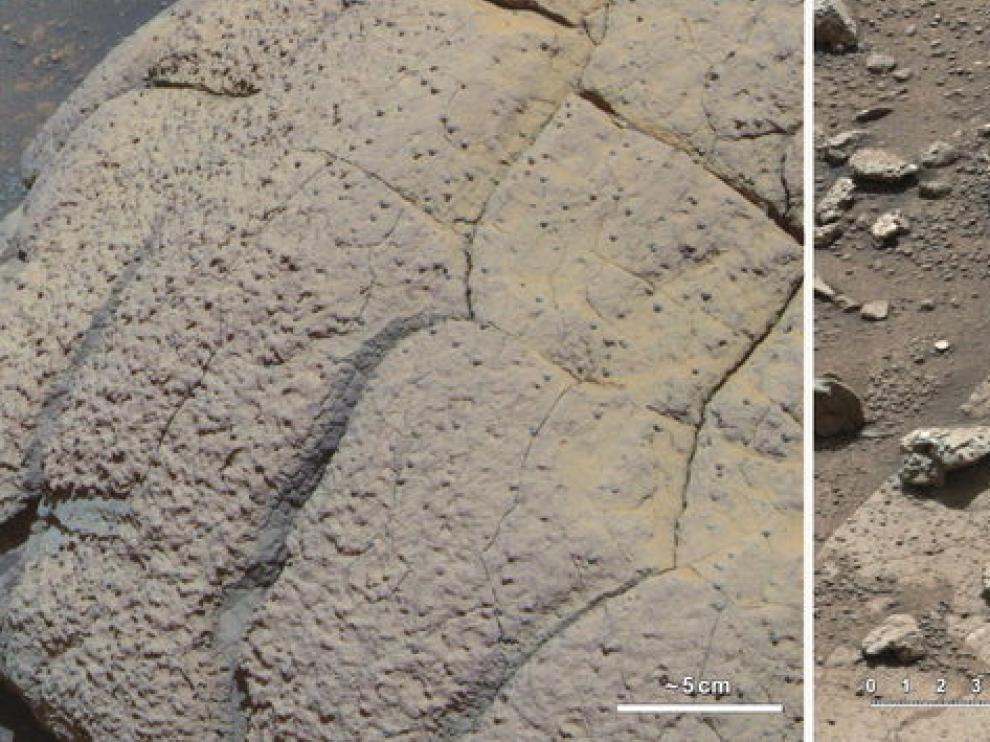 Dos rocas descubiertas en Marte por el Opportunity y el Curiosity