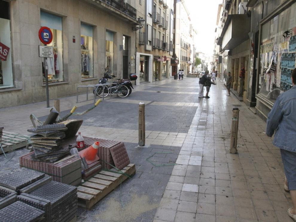 Obras de peatonalización en el centro de Huesca el año pasado