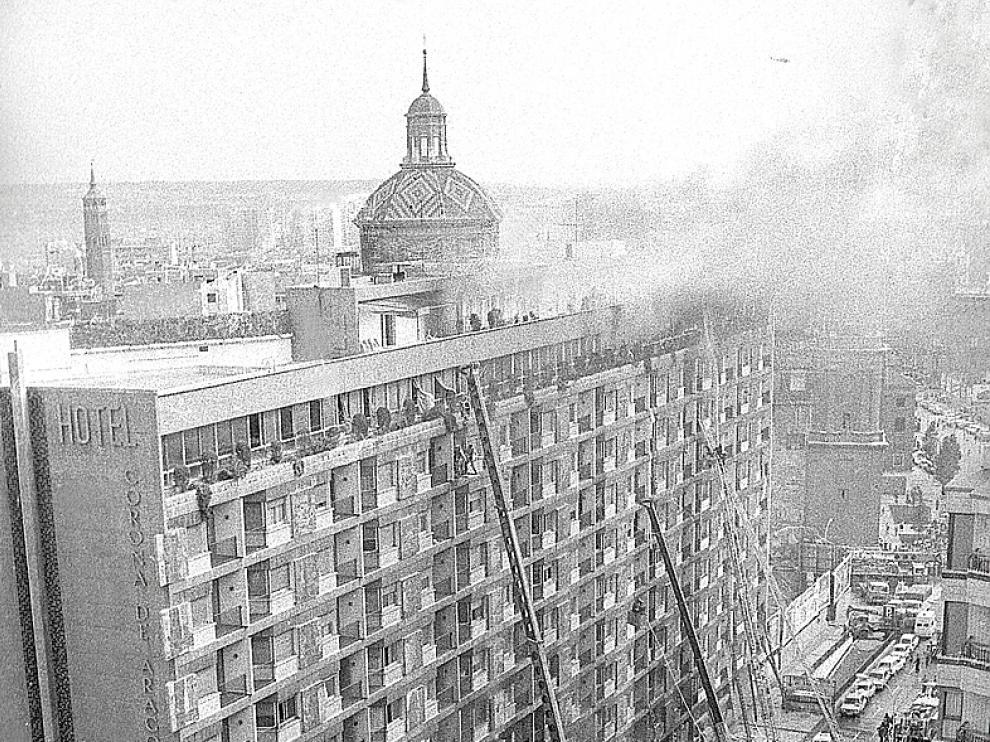 Imagen de archivo del incendio del hotel Corona