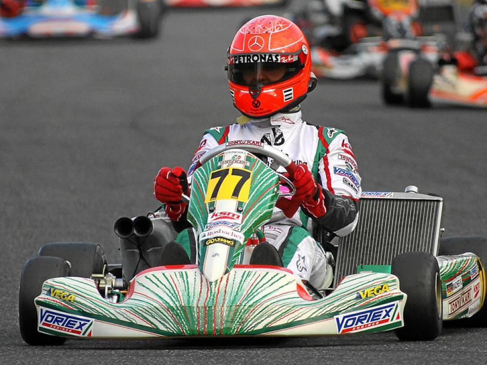 Michael Schumacher, en un entrenamiento de karts