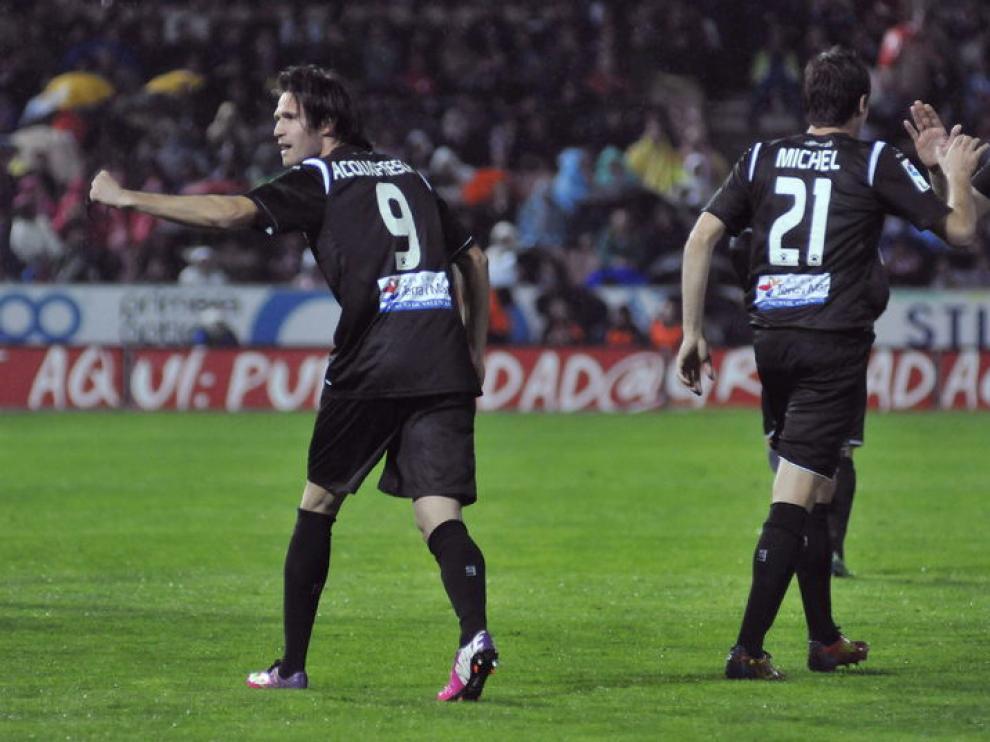 Acquafresca celebra el gol de los levantinos.