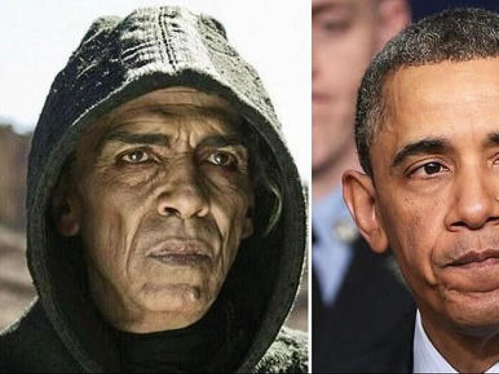 El parecido físico entre el personaje del demonio de la serie La Biblia y Obama.