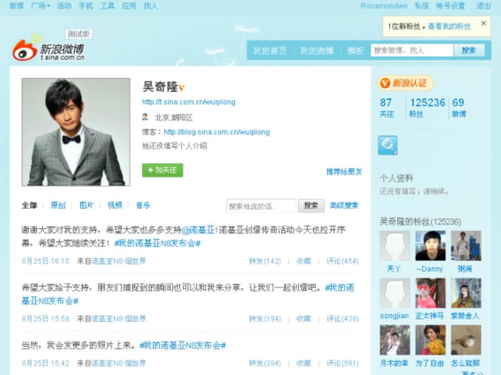 Imagen de Weibo el Twitter chino