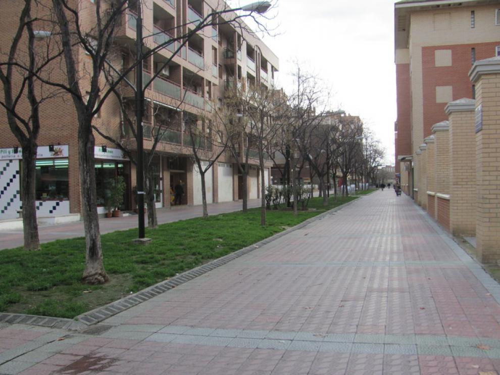 Calle de Ildefonso Manuel Gil, en el Actur, sin bancos