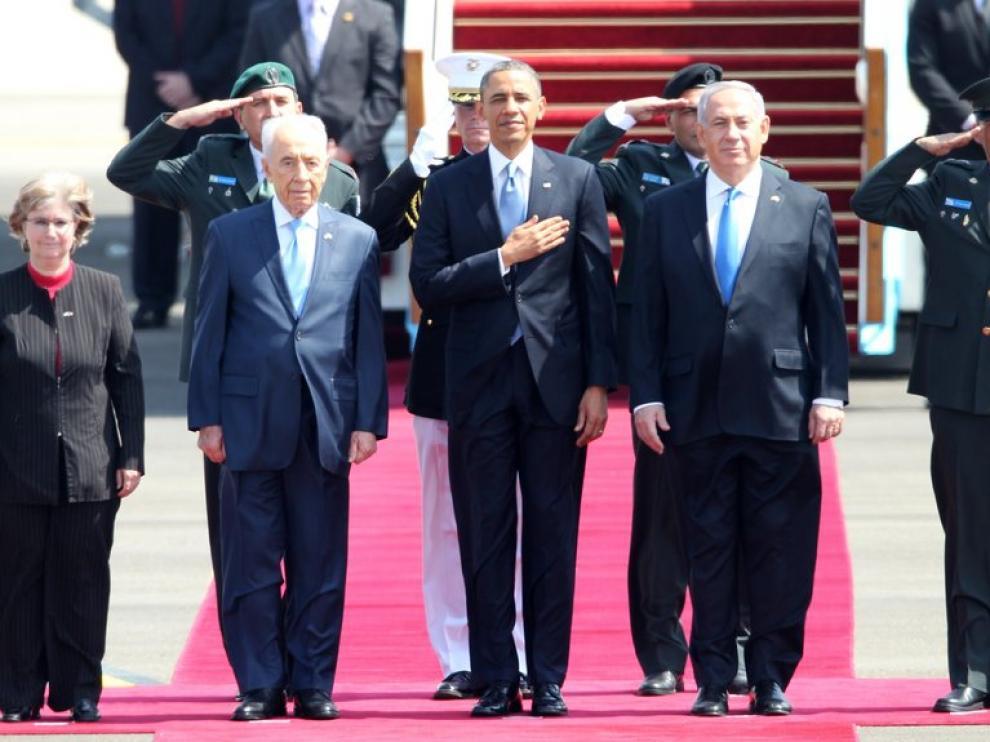 Fue recibido por el primer ministro israelí, Benjamin Netanyahu, y el presidente, Simon Peres
