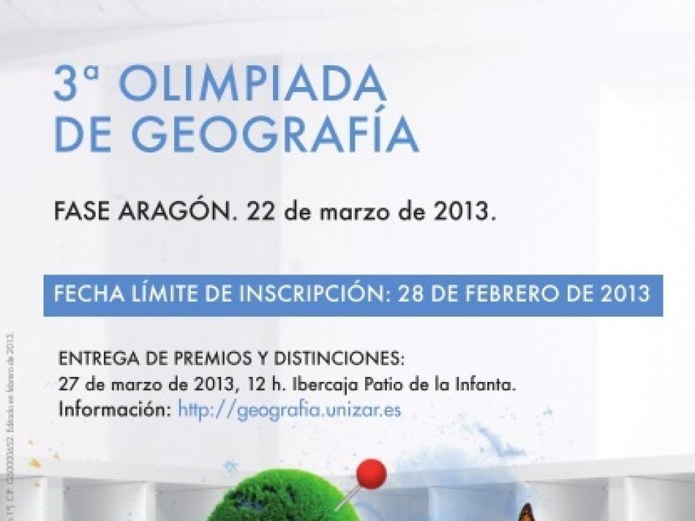 Cartel de la III Olimpiada de Geografía de Aragón.