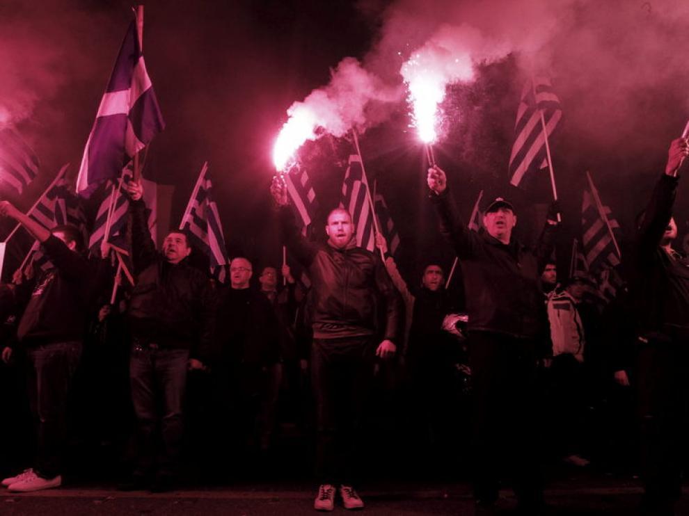 Manifestación de Amanecer Dorado en Atenas en apoyo a Chipre