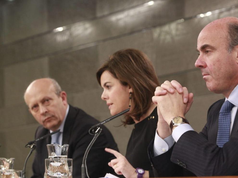 Soraya Sáenz de Santamaría, José Ignacio Wert y Luis de Guindos