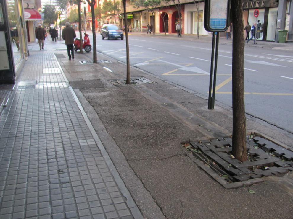 Firme de la calle de Santander en Zaragoza