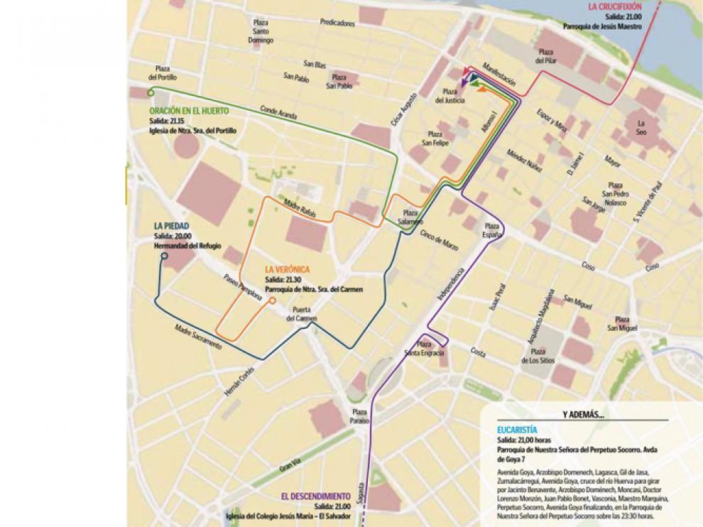 Procesiones y recorridos Martes Santo 2013 en Zaragoza