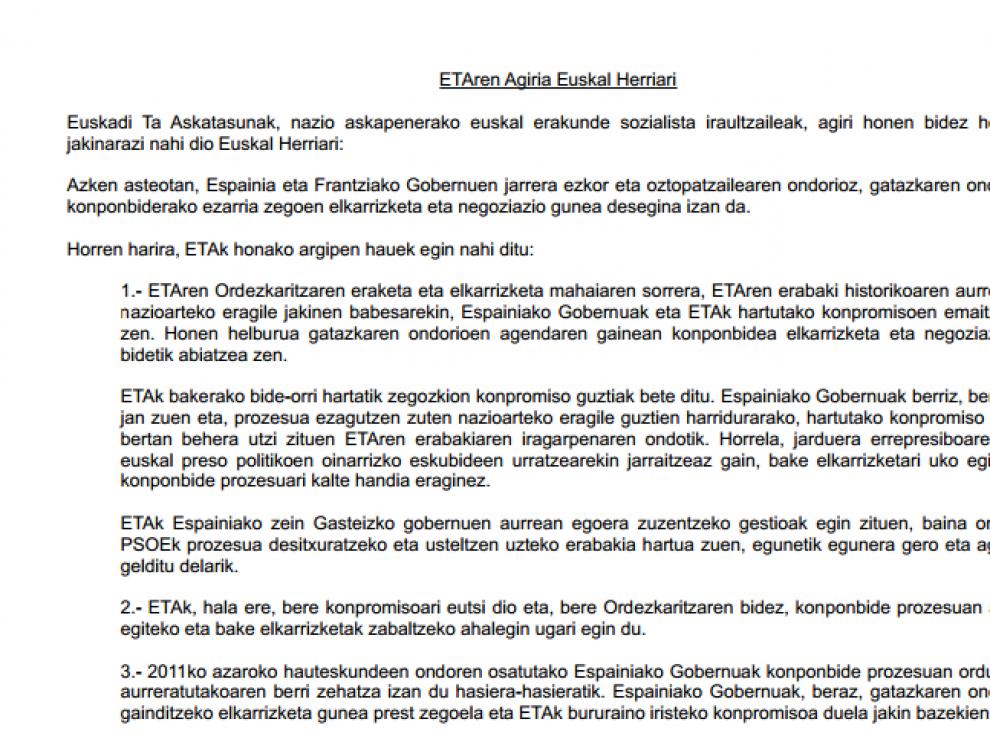 El comunicado, escrito íntegramente en euskera  está fechado el 17 de marzo