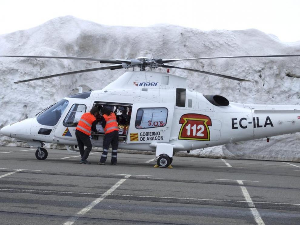 La menor fue trasladada de urgencia a Zaragoza en helicóptero