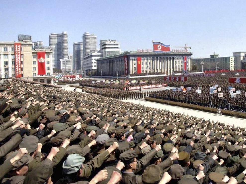 Manifestaciones de apoyo al líder en Corea del Norte