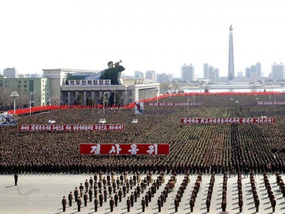 Manifestación de apoyo al régimen en Corea del Norte