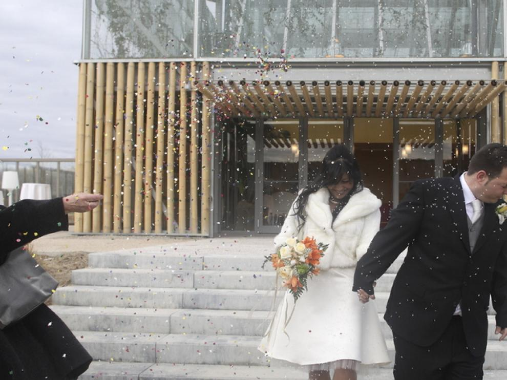 Una de las primeras bodas en el Parque del Agua