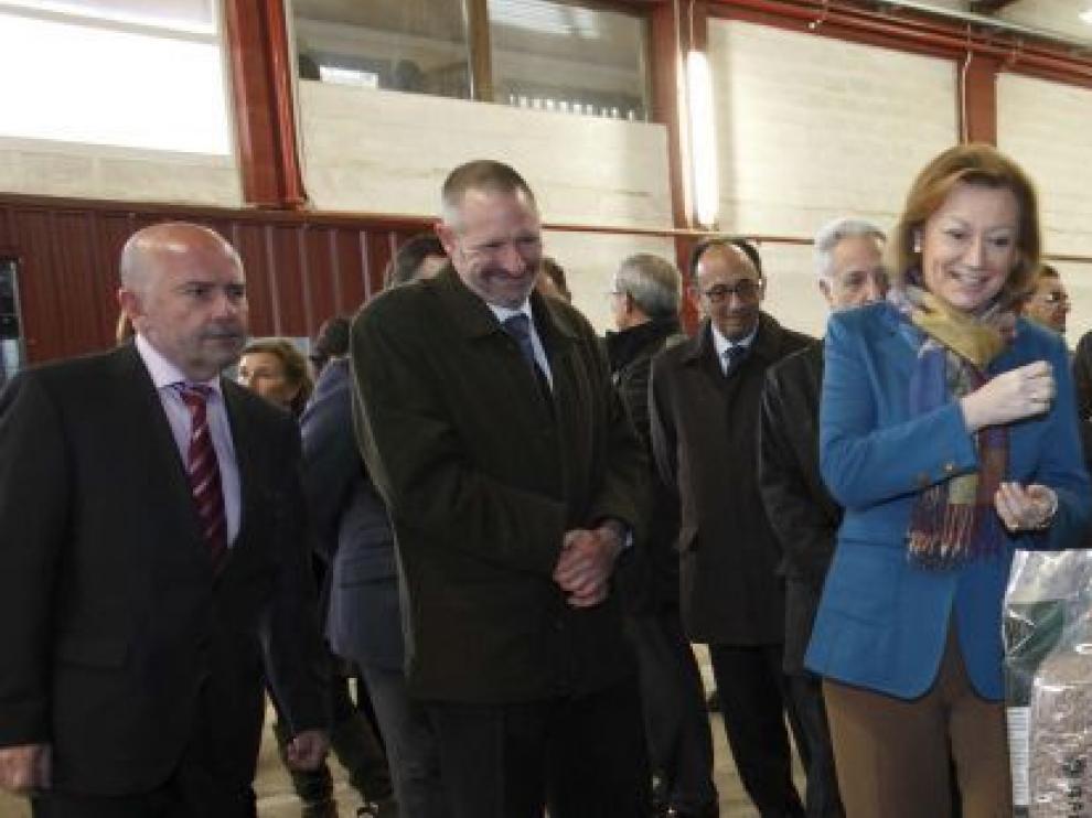 Rudi en la inauguración de la central de producción de biomasa en Ansó.