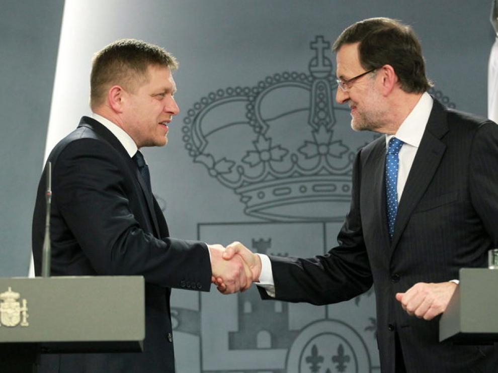 Mariano Rajoy con el primer ministro de la República Eslovaca, Robert Fico