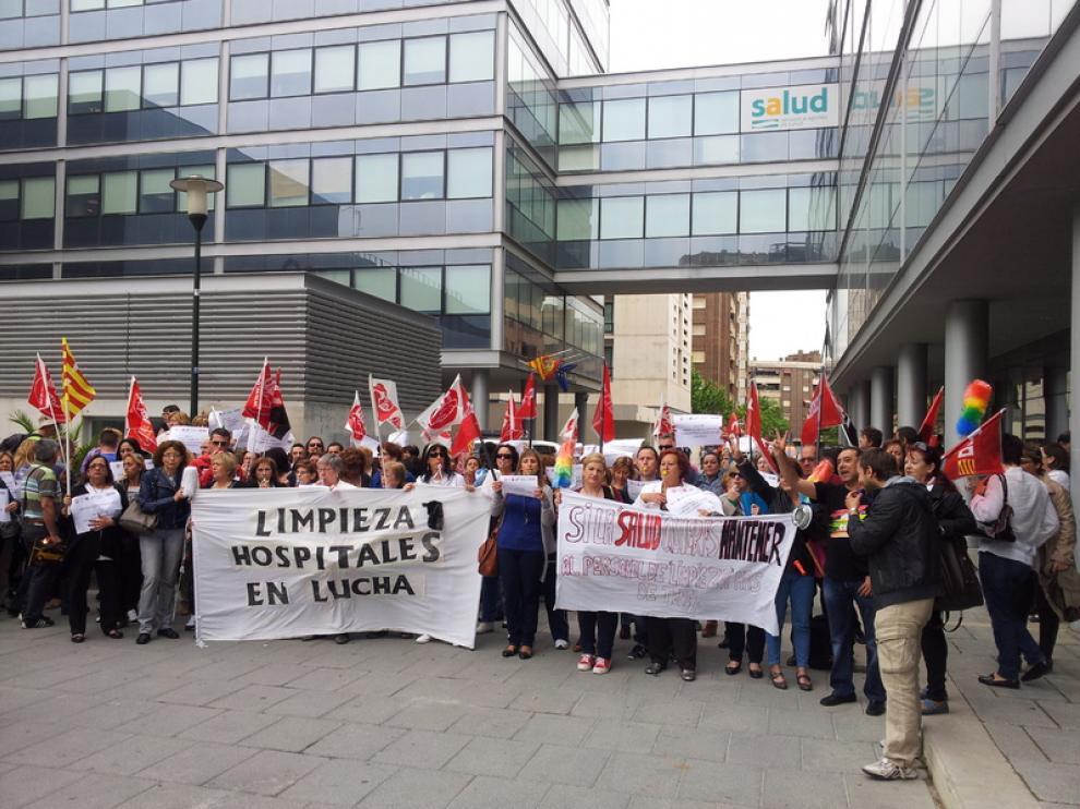 Protesta de los trabajadores de la limpieza