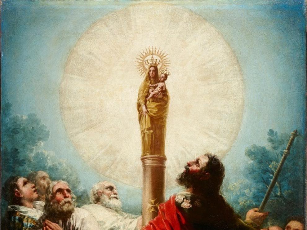 'El apóstol Santiago y sus discípulos adorando a la Virgen del Pilar'