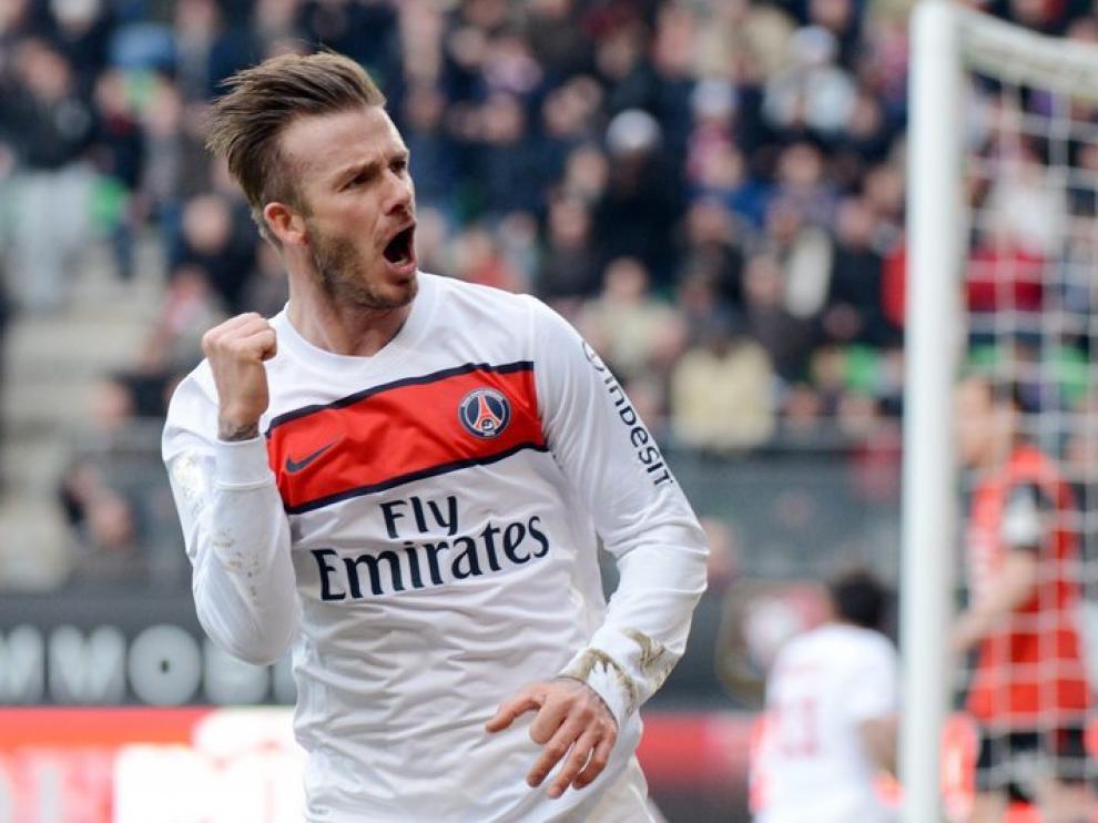 Beckham, con la camiseta del PSG