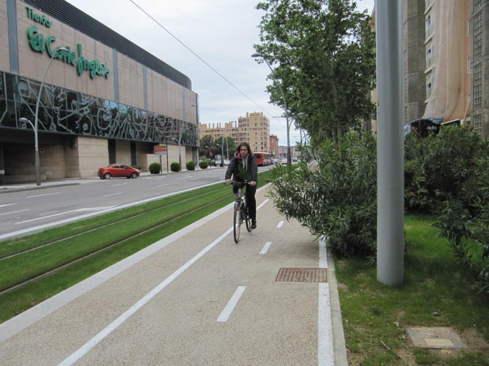 Un carril bici en Zaragoza