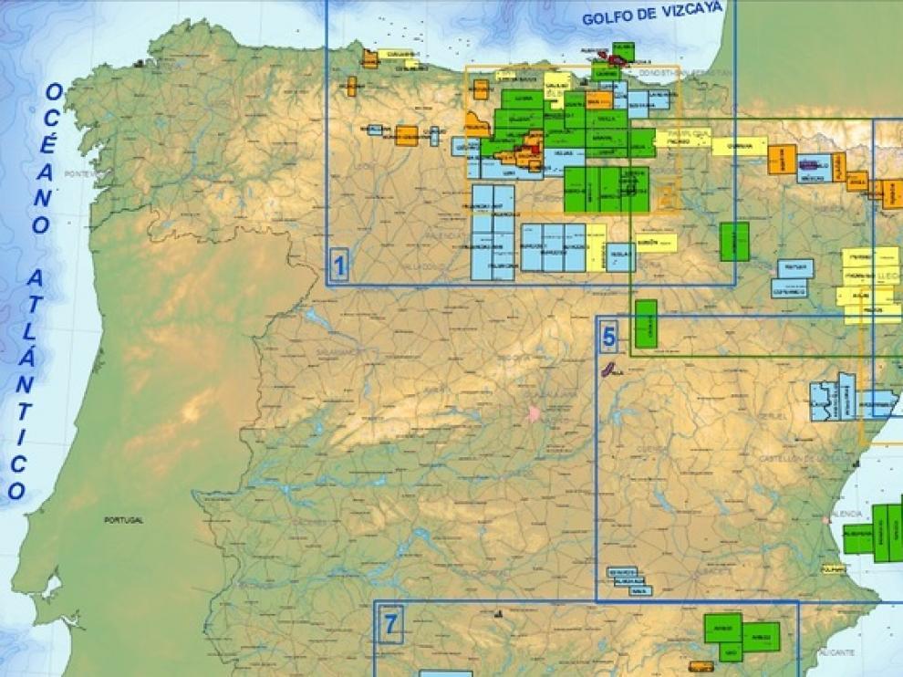 Mapa de permisos de investigación y explotación de hidrocarburos en España