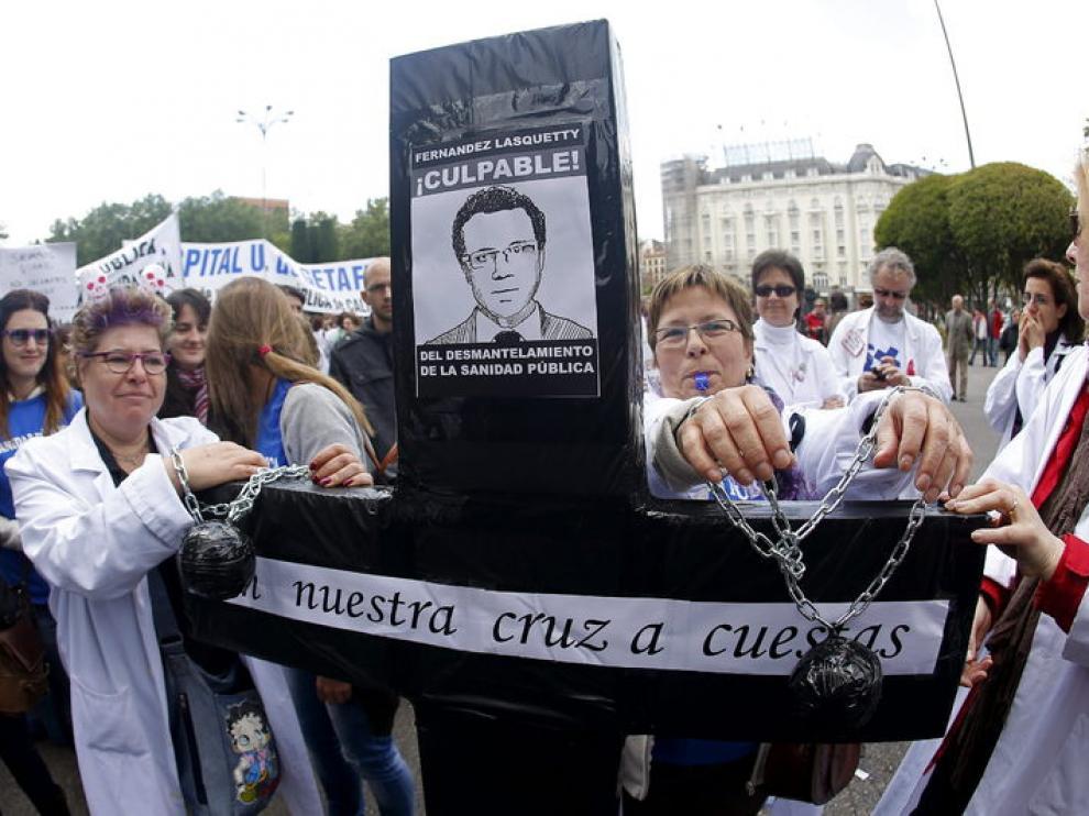 Protesta en defensa de la sanidad pública, en Madrid