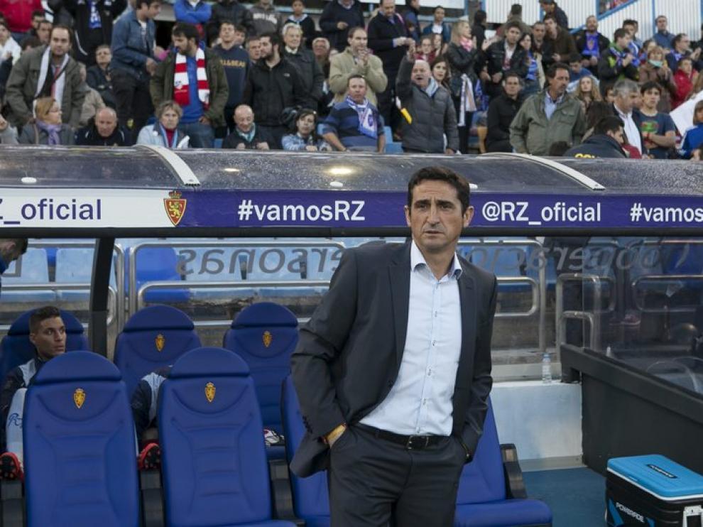 Manolo Jiménez, durante el partido que condenaba a Segunda al Real Zaragoza