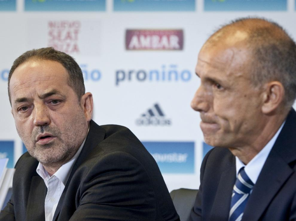 Agapito Iglesias, con el presidente Fernando Molinos, en foto de archivo