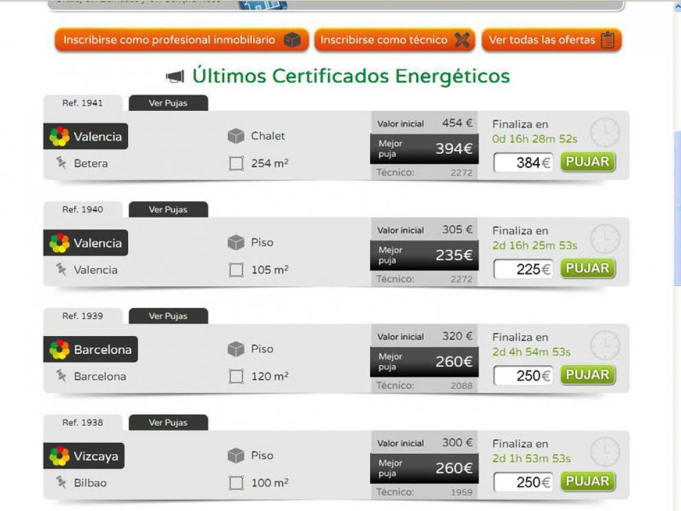 Subasta de certificados energéticos