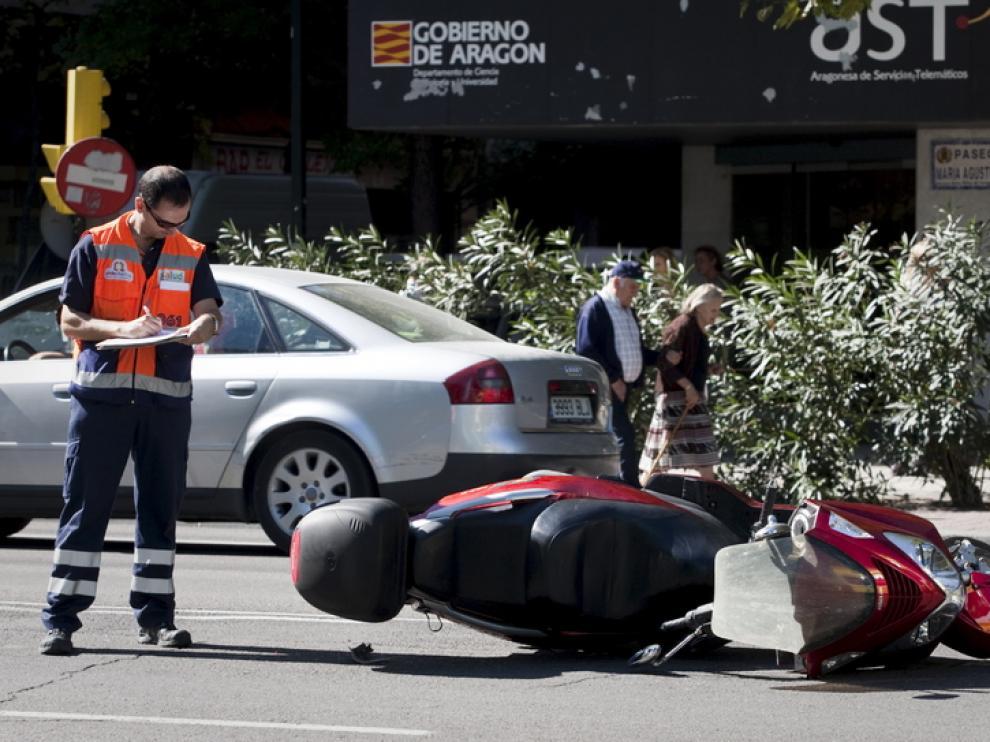 Un accidente de moto, en María Agustín