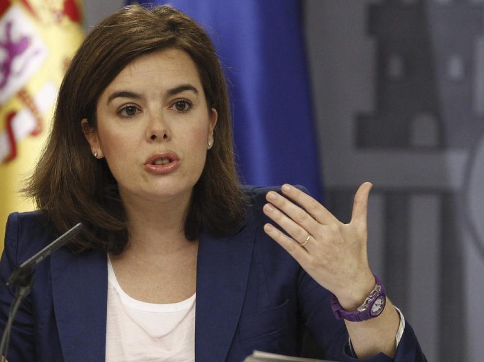 Soraya Sáenz de Santamaría, durante la rueda de prensa tras el Consejo de Ministros