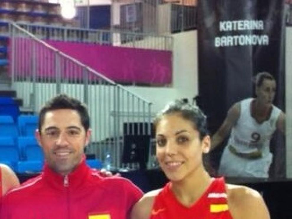 Cristina Ouviña y Víctor Lapeña en el Eurobasket