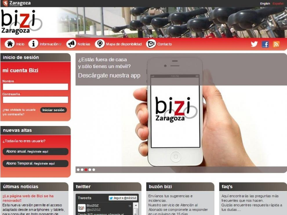 La nueva web de Bizi Zaragoza