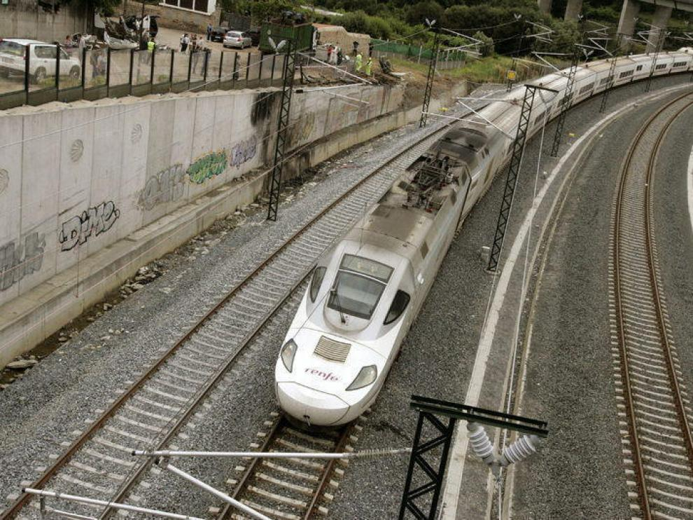 Curva donde descarriló el tren en Angrois