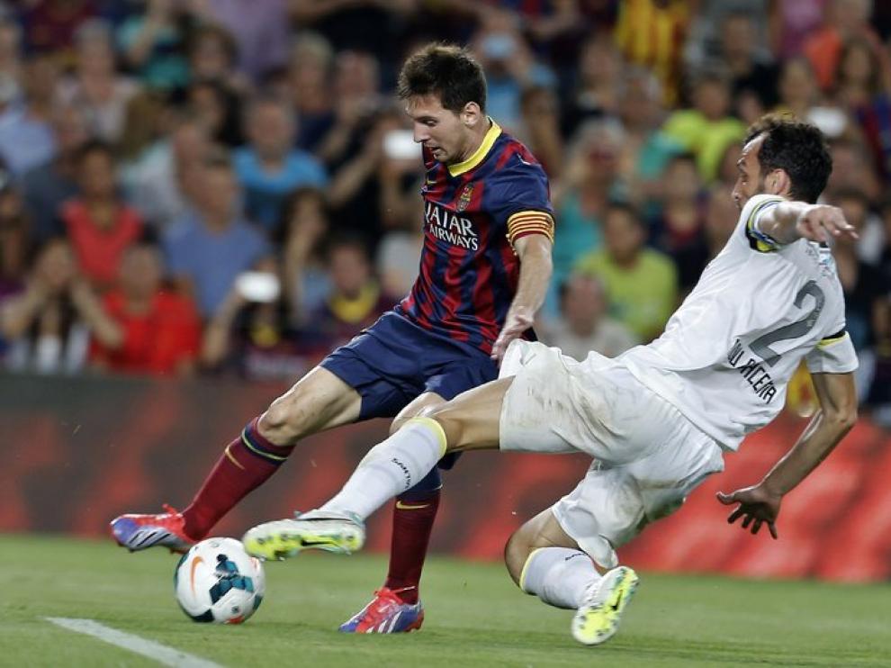 Messi durante el partido contra el Santos