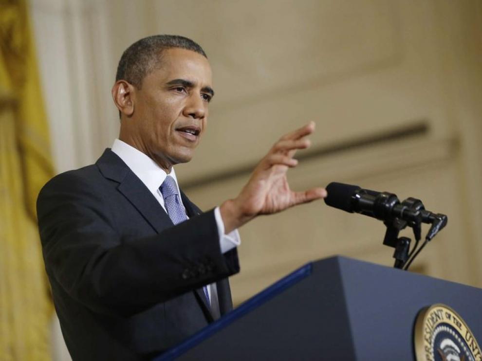 Barack Obama, durante la conferencia de prensa de este viernes.