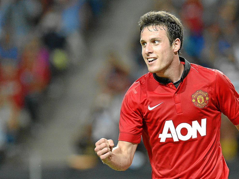 Henríquez, con la camiseta del United