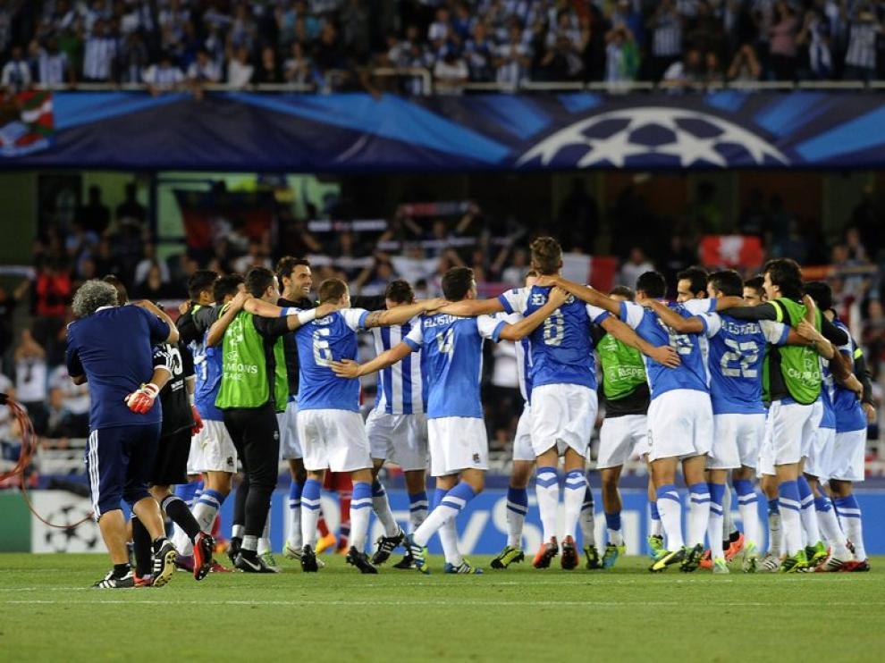 La Real Sociedad celebrando su pase a la 'Champions'